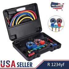 "R1234Yf Hvac Air Conditioning Aluminum Manifold Gauge Set W/72"" Color Hoses A/C"