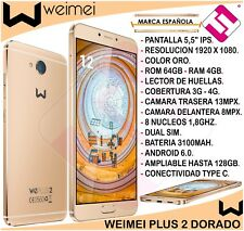 SMARTPHONE WEIMEI PLUS DORADO 5,5 PULGADAS 64GB 4GB 13MP OCTACORE BLACKFRIDAY