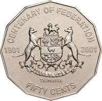 2001 Australian 50 Cent Coin TASMANIA Cent Of Federation Commemorative
