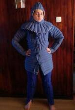 Medieval Thick Padded Aketon Blue Cotton Fabric Gambeson With Leggi and Coif