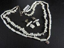 Vintage Solid 925 Sterling Silver Biwa Pearl Jewelry Necklace Earrings Set Women