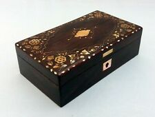 Antique Wooden Box, Hand Made Mother of Pearl Inlay