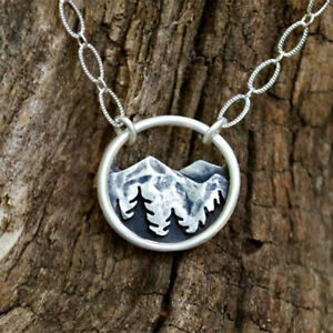 Handmade 925 Silver Women Men Pendant Necklace Mountain Peak Irregular Jewelry