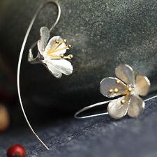 Fashion 925 Sterling Silver Long Flower Earrings Tassel Earrings silver Jewelry