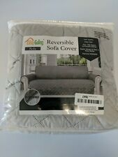 Quilted Couch Cover Pad Chair Throw Pet Dog Kids Mat - Reversable Gray 3SeatSofa