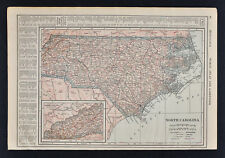 1914 Poates Map North Carolina Raleigh Charlotte Wilmington Outer Bank Hatteras