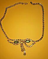 Vintage Style necklace aurora borealis gold tone yellow