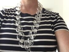 Long clear plastic acrylic perspex oval link chain chunky necklace bag strap