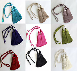 Luxury Curtain Tie Back Rope & Double Tassel Drapes Tieback Holdback 10 Colours