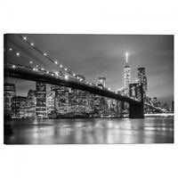 Quadro Stampa su Tela con Telaio Ponte di Brooklyn e skyline di downtown Manhatt