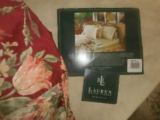 "Ralph Lauren King Size Bed Skirt "" Desert Plains "" Burgundy 15 "" Drop Nwot"