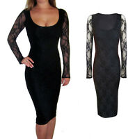 Peaches&Cream Lace Evening Bodycon Long Sleeve Midi Dress Black Size 8 10 12 14