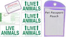 Live Animal Sticker Label Set of 5 w/ Pet Passport Pouch PURPLE
