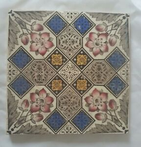 STUNNING FLORAL SYMMETRICAL DESIGN ARTS & CRAFTS ENGLISH 6 INCH TILE