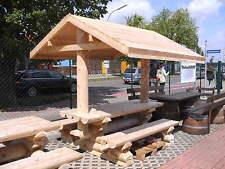 RBSG2FBD Rundbohle Garten Sitzgarnitur Tisch 2 Bänke Lehne Biergarten Sitzgruppe
