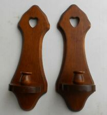 New listing Set of Vintage Homco Home Interiors Wall Decor Sconce Wood Heart Candle Holders