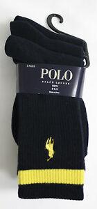Polo Ralph Lauren Boys Socks Dark Navy Blue w Yellow Stripe and Pony Logo 3 pair