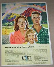 1940's print ad - Adel Precision Products family rainbow art artwork Advertising