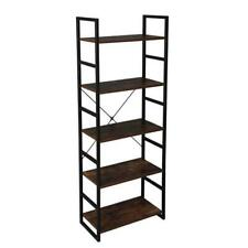5-Shelf Wood and Metal Adjustable Bookcase Storage Shelving Book Wide Bookshelf