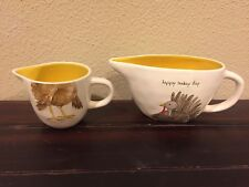 Rae Dunn Happy Turkey Day Thanksgiving Gravy Boat and Creamer Set.