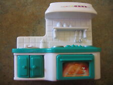 "Doll Furniture White Green Kitchen Stove Sink 4 1/2"" long 3 3/4"" tall"
