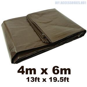BROWN 4 m x 6 m ( 13 ft x 19.5 ft ) 210 GSM Tarpaulin Ground Sheet Heavy Duty
