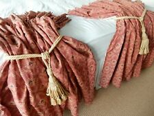 Handmade Vtg Pair Curtains Thick Heavy Woven Tapestry French Pleats Lined 4kg