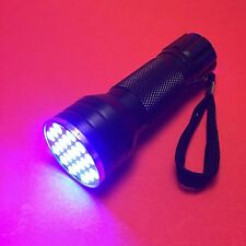 JaaU UV LED Flashlight, 21 LEDs, Curing Lamp for UV Glue LOCA, 3x AAA, 395nm
