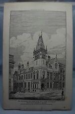 Manchester & COUNTY BANK King STREET M/AV 19th SECOLO ARCHITETTURA PIASTRA 1880 *