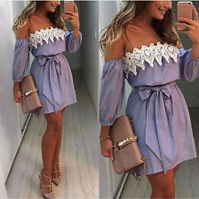 Womens Summer Boho Mini Dress Ladies Strapless Casual Beach Party Shirt Dresses