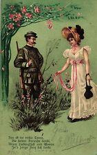 Jagd, Jäger mit Dame, 1902 in der Schweiz versandt