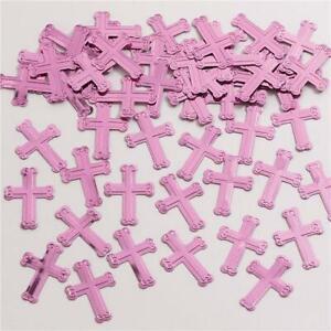 5 x Pink Metallic Confetti Cross Table Confetti