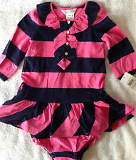 NWT Ralph Lauren 2 Piece Rugby Pink Navy Ruffle LS Outfit 9M