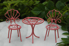 Miniature Dollhouse FAIRY GARDEN ~ TINY Pink Metal Bistro Table & Chairs ~ NEW