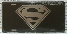 Superman Logo License Plate Aluminum Black & Silver Embossed Sign Car Tag Auto