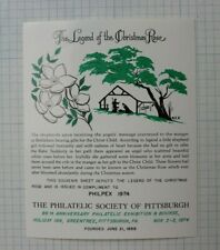 Pittsburgh Pa Stamp Society Philpex 1974 Christmas Rose Philatelic Label