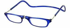 CliC Adjustable Front Connect Reading Glasses 1.75 Strength, Blue Frame