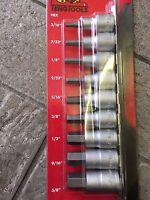 """Teng M1209AF Imperial AF Hex Allen Key Bit Socket Set 1/2"""" On Rail 3/16 - 5/8"""