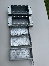 Lot Of 7 4 Gang Steel Electtical Boxes With Mud Ring Plaster Covers Raised 34