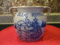 "Salmon Falls Pottery/Stoneware ""Blue Rhino"" Bean Pot/Crock with Lid"