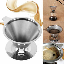 Stainless Steel Pour Over Cone Dripper Reusable Coffee Filter Cup Stand #KL