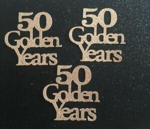 Cupcake Toppers 50th anniversary birthday cake  Glitter Pack of 6 FREE UK P&P