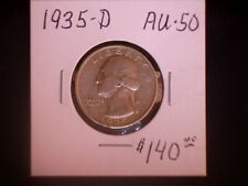 1935-D 25C Washington Quarter, AU, SALE
