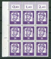 Bund 349 y DZ 5 Druckerzeichen postfrisch 9 er Block Eckrand BRD Michel 45 €
