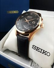 Brand New Beautiful Seiko Kinetic Men's Watch, Black Calf Leather Band 10ATM