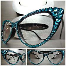 VINTAGE CAT EYE Style Clear Lens EYE GLASSES Black Frame Aqua Crystals Handmade