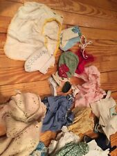 Vintage Doll Clothing Lot. Various Sizes And Styles. Shoes, Scarves, Bibs Etc.