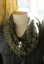 """Echo grey small animal print scarf, 76.5"""" x 20"""" cowl scarf  (with joined ends)"""