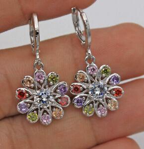 New 18K White Gold Filled Multi-Color CZ Flower Mini Hoop Dangle Drop Earrings