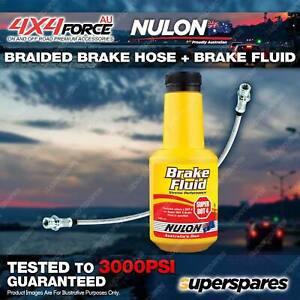 Rear Braided LH or RH Brake Hose + Nulon Fluid for Mitsubishi Triton ML MN 06-ON